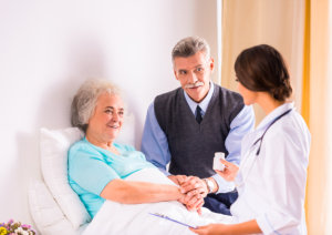caring for a sick senior woman